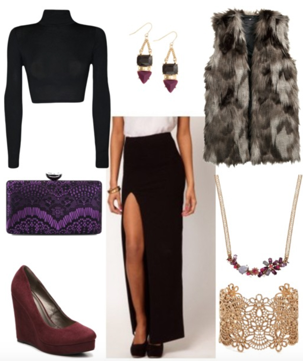black-maxi-skirt-black-sweater-brown-vest-fur-purple-bag-clutch-fall-winter-crop-purple-earrings-necklace-bracelet-cuff-clutch-wedge-burgundy-shoe-pumps-dinner.jpg