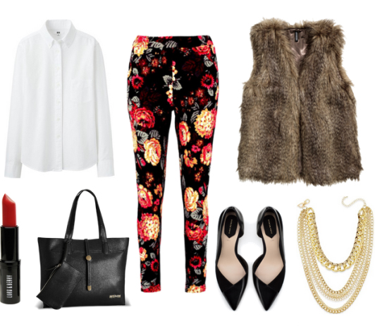 black-slim-pants-white-top-blouse-brown-vest-fur-black-bag-howtowear-fashion-style-outfit-fall-winter-floral-black-shoe-pumps-necklace-work.jpg