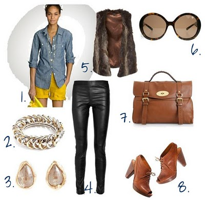 black-leggings-blue-light-collared-shirt-leather-brown-vest-fur-cognac-bag-cognac-shoe-booties-bracelet-pearl-studs-sun-chambray-lunch.jpg