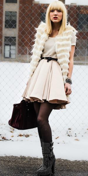 white-dress-mini-ivory-white-vest-fur-fuzz-burgundy-bag-black-tights-black-shoe-booties-fall-winter-blonde-dinner.jpg