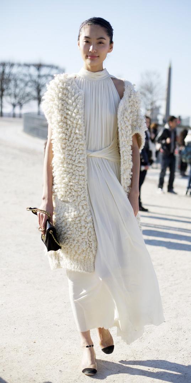 white-dress-maxi-white-vest-fur-fuzz-head-black-shoe-flats-fall-winter-brun-dinner.jpg