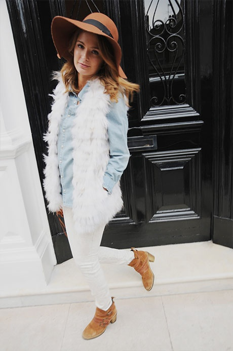 white-skinny-jeans-blue-light-collared-shirt-howtowear-fashion-style-outfit-fall-winter-white-vest-fur-cognac-shoe-booties-hat-chambray-hairr-lunch.jpg