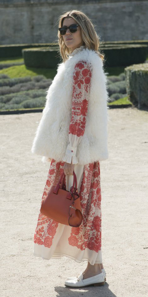 red-dress-maxi-floral-print-white-vest-fur-fuzz-orange-bag-white-shoe-loafers-fall-winter-blonde-lunch.jpg