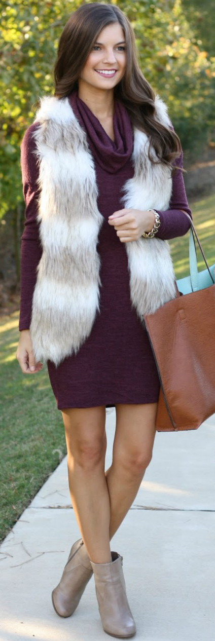 r-burgundy-dress-white-vest-fur-tan-shoe-booties-cognac-bag-tote-howtowear-fashion-style-outfit-fall-winter-cowlneck-sweater-brunette-lunch.jpg