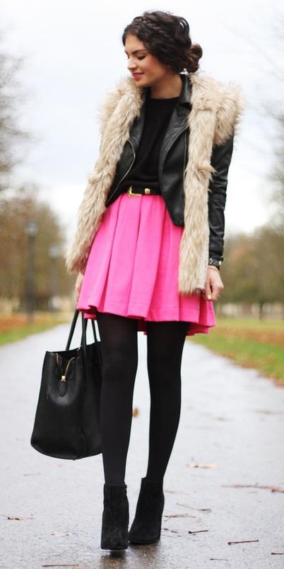 pink-magenta-mini-skirt-black-jacket-moto-layer-braid-black-bag-tote-black-tights-black-shoe-booties-white-vest-fur-fuzz-fall-winter-brun-dinner.jpg