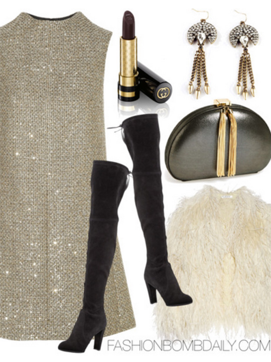 o-tan-dress-mini-sequin-white-vest-fur-fuzz-black-shoe-boots-black-bag-clutch-earrings-howtowear-fashion-style-outfit-fall-winter-holiday-dinner.jpg