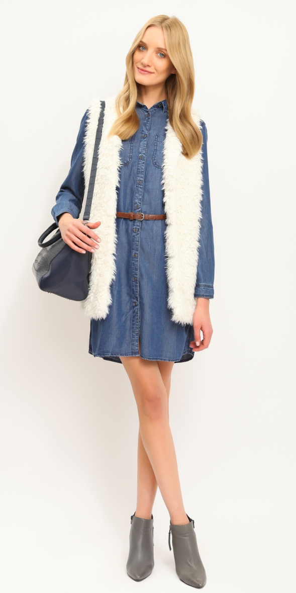 blue-med-dress-white-vest-fur-gray-shoe-booties-blue-navy-bag-howtowear-fashion-style-outfit-fall-winter-shirt-skinny-belt-chambray-blonde-work.jpg