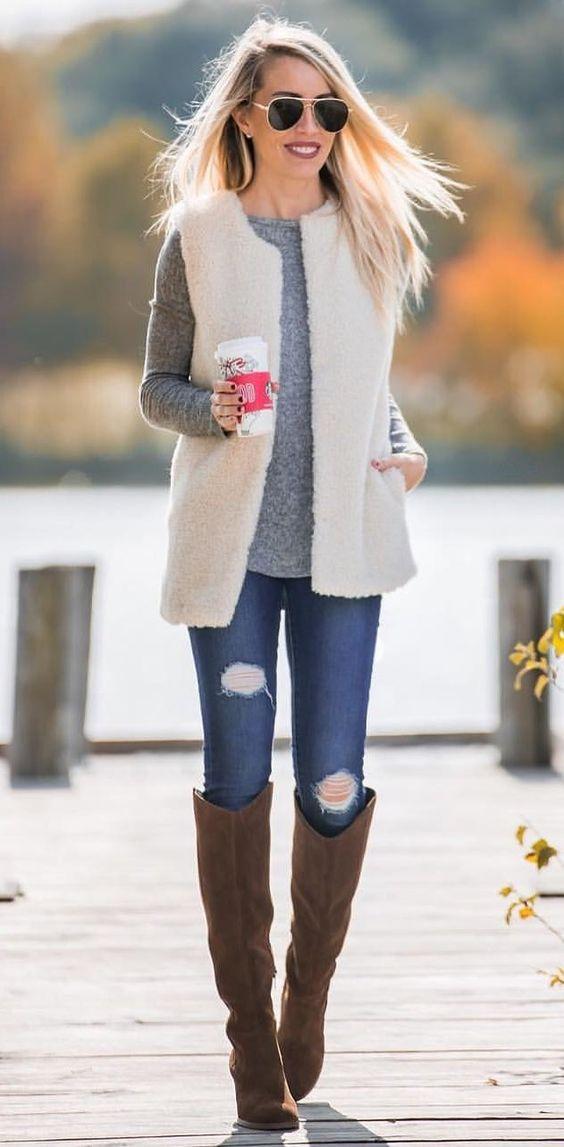 blue-navy-skinny-jeans-brown-shoe-boots-white-vest-fur-grayl-sweater-sun-blonde-fall-winter-weekend.jpg