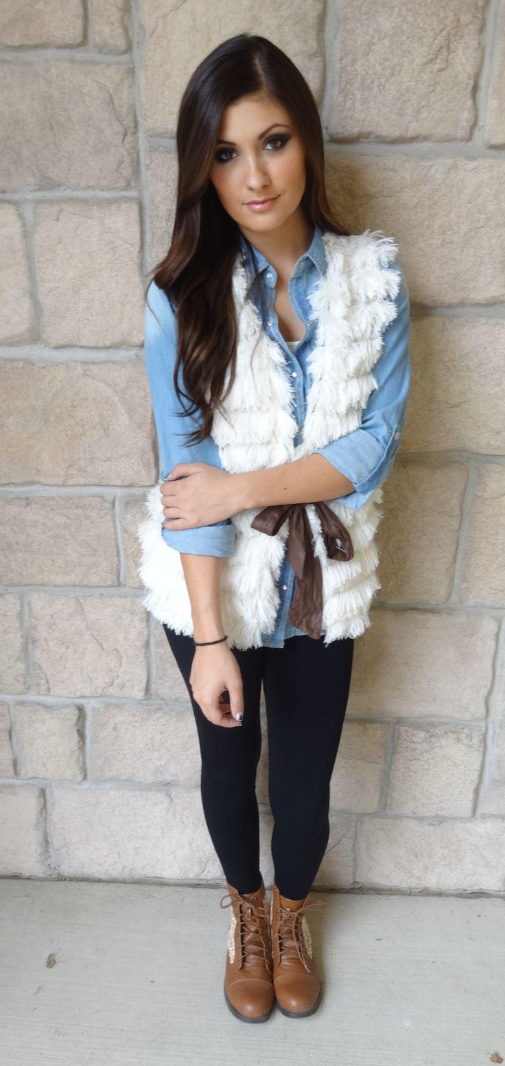blue-light-collared-shirt-chambray-white-vest-fur-cognac-shoe-booties-fall-winter-brun-lunch.jpg