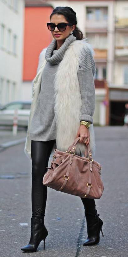 black-leggings-grayl-sweater-turtlenck-white-vest-fur-fuzz-pink-bag-sun-pearl-studs-pony-watch-black-shoe-booties-leather-fall-winter-brun-lunch.jpg