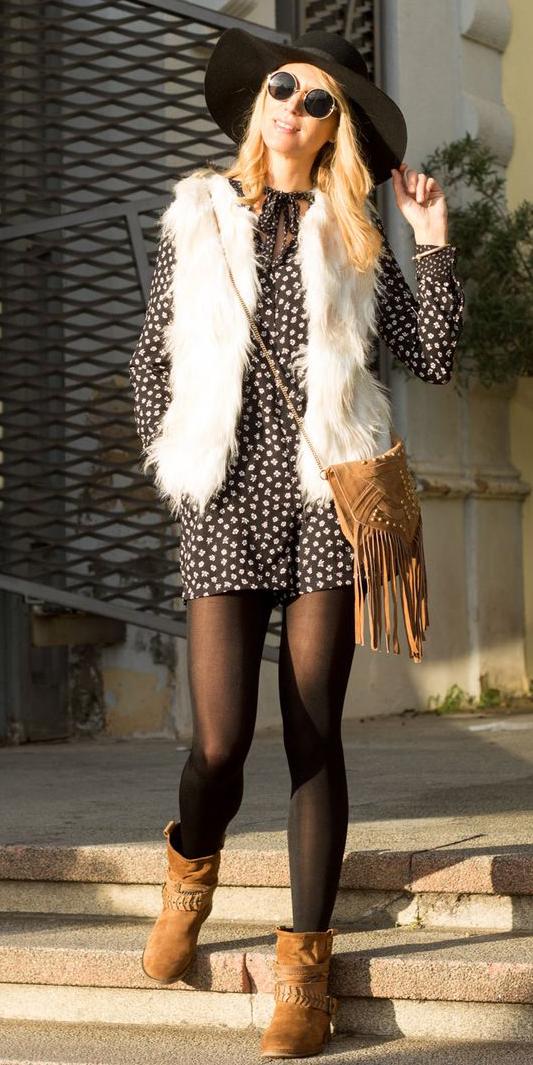 black-dress-zprint-floral-white-vest-fur-tan-shoe-booties-black-tights-cognac-bag-peasant-fall-winter-sun-hat-blonde-lunch.jpg