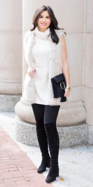 black-skinny-jeans-white-sweater-sleeveless-black-shoe-boots-black-bag-white-vest-fur-brun-fall-winter-dinner.jpg