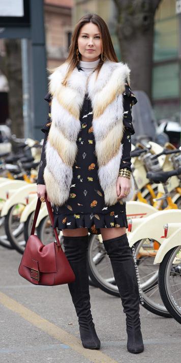 black-dress-mini-floral-print-shirt-white-vest-fur-fuzz-red-bag-black-shoe-boots-otk-earrings-white-tee-turtleneck-fall-winter-hairr-lunch.jpg