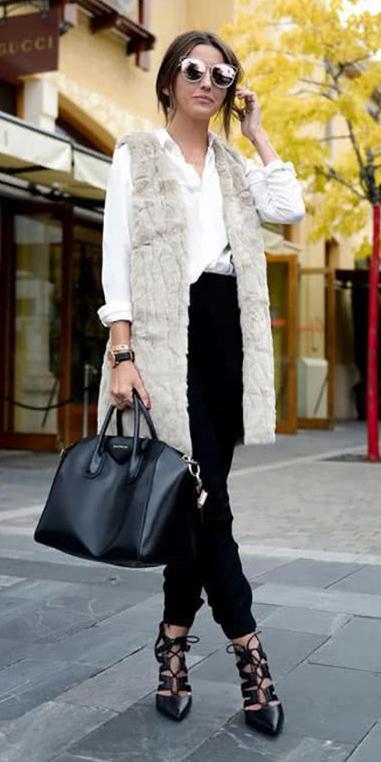 black-joggers-pants-white-collared-shirt-sun-white-vest-fur-black-bag-black-shoe-pumps-sun-office-appropriate-fall-winter-hairr-work.jpg