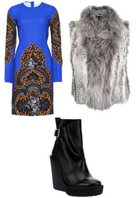 blue-med-dress-grayl-vest-fur-black-shoe-booties-howtowear-fashion-style-outfit-fall-winter-print-shift-sheath-platform-office-cobalt-work.jpg