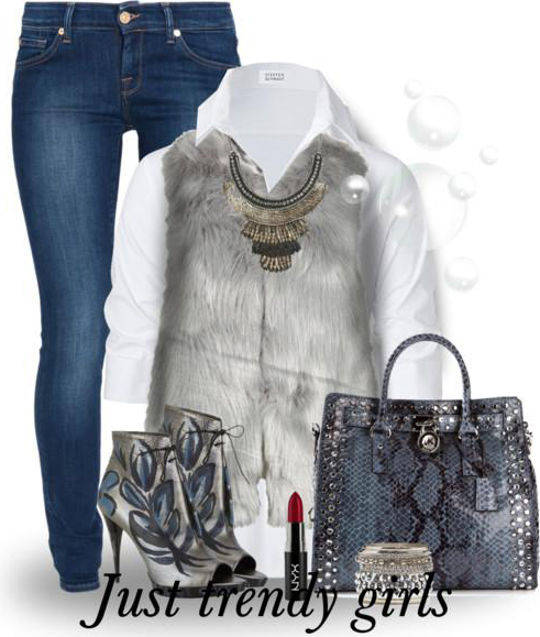 blue-navy-skinny-jeans-white-collared-shirt-grayl-vest-fur--howtowear-fashion-style-outfit-fall-winter-gray-shoe-booties-blue-bag-bracelet-snakeskin-bib-necklace-lunch.jpg
