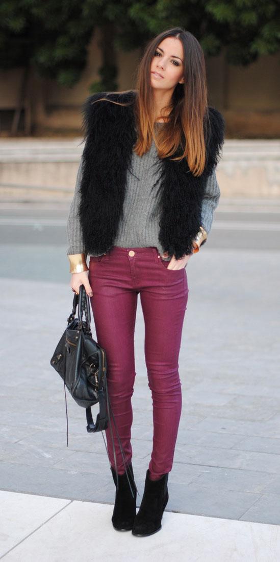 burgundy-skinny-jeans-grayl-sweater-black-vest-fur-fuzz-black-shoe-booties-fall-winter-hairr-lunch.jpg