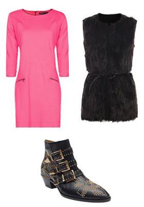 r-pink-magenta-dress-black-vest-fur-black-shoe-booties-howtowear-fashion-style-outfit-fall-winter-shift-sheath-mini-office-work.jpg