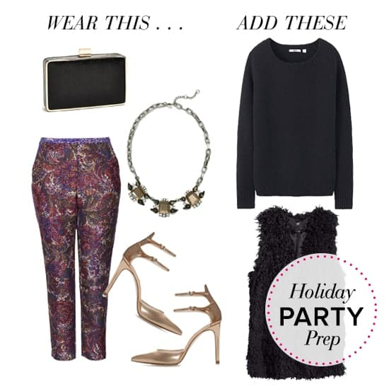 purple-royal-slim-pants-black-sweater-black-vest-fur-tan-shoe-pumps-bib-necklace-print-black-bag-clutch-howtowear-fashion-style-outfit-fall-winter-holiday-party-dinner.jpg