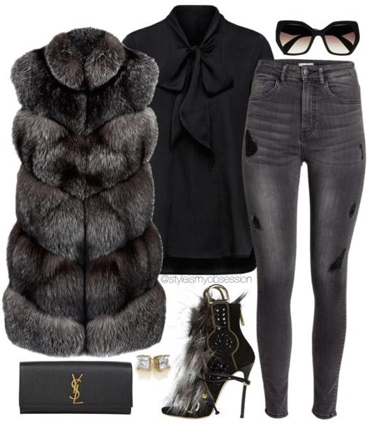 grayd-skinny-jeans-black-top-blouse-black-vest-fur-black-shoe-sandalh-black-bag-clutch-sun-howtowear-fashion-style-outfit-fall-winter-mono-sun-basic-dinner.jpg