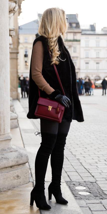 black-shoe-boots-otk-red-bag-blonde-camel-sweater-black-vest-fur-fall-winter-lunch.jpg