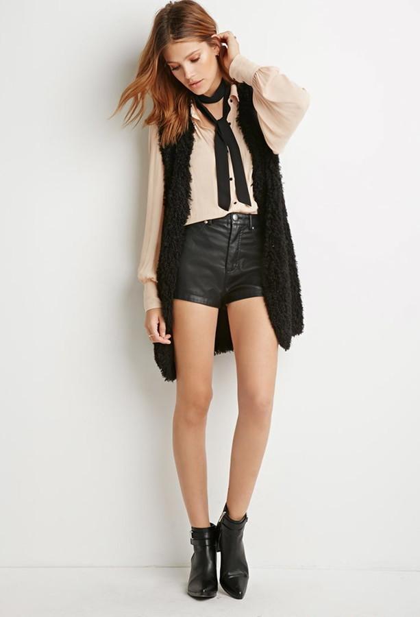 black-shorts-hairr-black-scarf-skinny-neck-tan-top-blouse-black-vest-fur-black-shoe-booties-fall-winter-lunch.jpg
