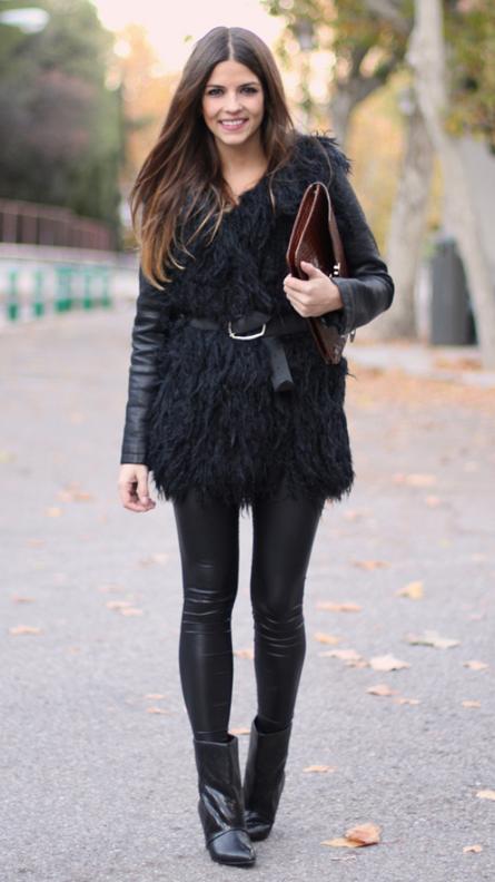 black-leggings-black-jacket-moto-black-vest-fur-burgundy-bag-clutch-wear-style-fashion-fall-winter-black-shoe-booties-belt-nightout-brun-dinner.jpg