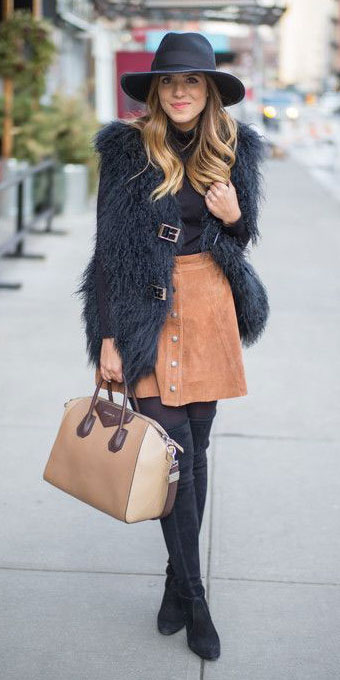 camel-mini-skirt-black-tee-turtleneck-black-vest-fur-fuzz-hat-tan-bag-black-tights-black-shoe-boots-otk-fall-winter-blonde-lunch.jpg