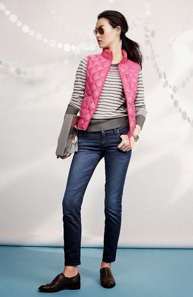 blue-navy-skinny-jeans-grayl-sweater-stripe-brun-pony-pink-magenta-vest-puffer-fall-winter-weekend.jpg
