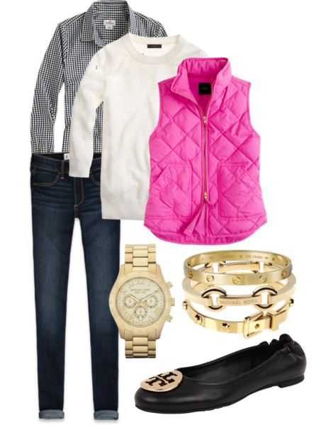 blue-navy-skinny-jeans-black-collared-shirt-gingham-check-white-sweater-pink-magenta-vest-puffer-black-shoe-sneakers-watch-bracelet-print-fashion-style-outfit-fall-winter-weekend.jpg