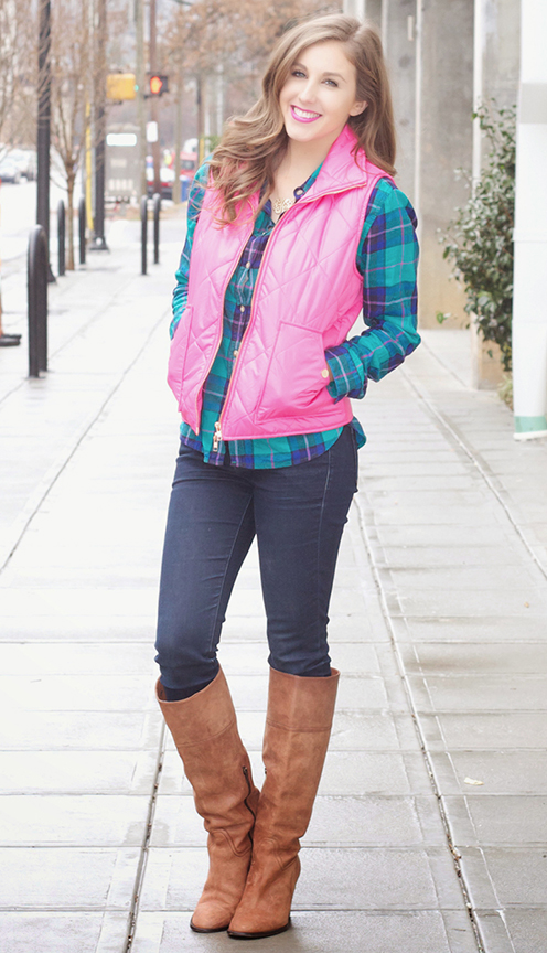 blue-navy-skinny-jeans-blue-med-plaid-shirt-pink-magenta-vest-puffer-cognac-shoe-boots-necklace-howtowear-fashion-style-outfit-hairr-fall-winter-weekend.jpg