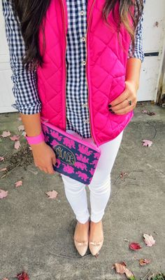 white-skinny-jeans-blue-navy-collared-shirt-gingham-print-pink-magenta-vest-puffer-tan-shoe-flats-fall-winter-outfit-weekend.jpg