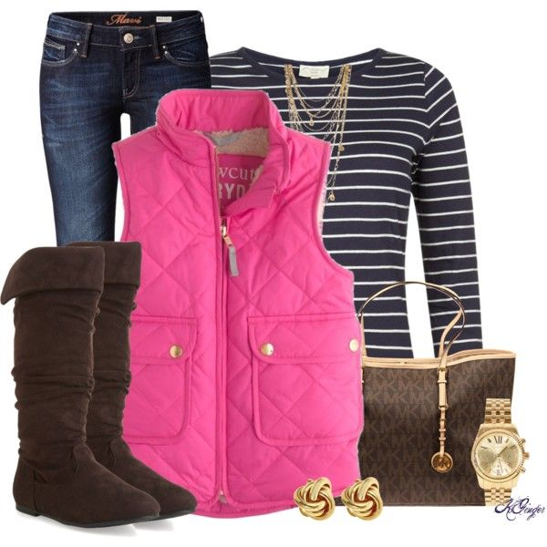 blue-navy-skinny-jeans-blue-navy-tee-stripe-pink-magenta-vest-puffer-brown-shoe-boots-brown-bag-tote-studs-watch-necklace-howtowear-fashion-style-fall-winter-outfit-weekend.jpg