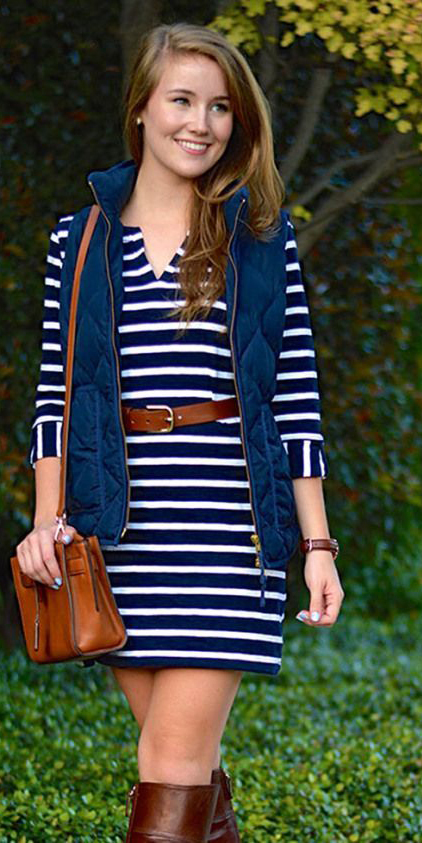 blue-navy-dress-zprint-stripe-blue-navy-vest-puffer-brown-shoe-boots-cognac-bag-howtowear-fashion-style-outfit-fall-winter-tshirt-belt-hairr-weekend.jpg