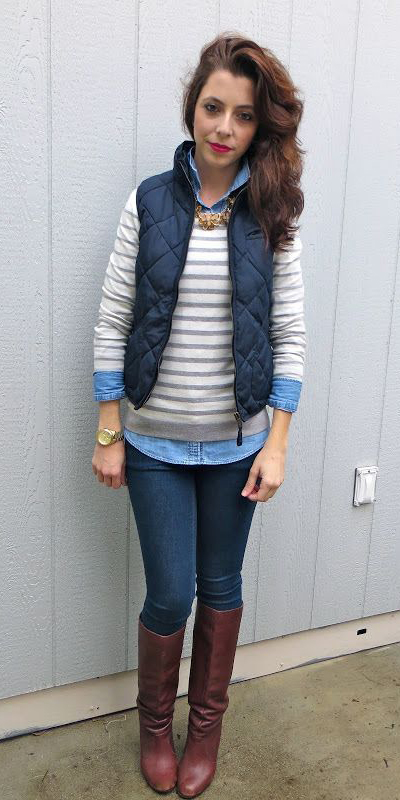 blue-navy-skinny-jeans-white-sweater-stripe-blue-light-collared-shirt-brown-shoe-boots-brun-blue-navy-vest-puffer-fall-winter-weekend.jpg