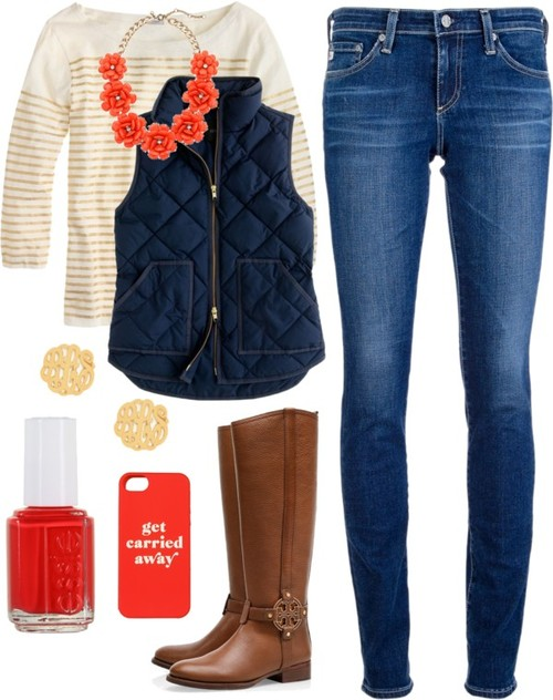 blue-navy-skinny-jeans-tan-tee-stripe-bib-necklace-cognac-shoe-boots-nail-studs-blue-navy-vest-puffer-fall-winter-weekend.jpg