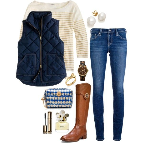 blue-navy-skinny-jeans-blue-navy-vest-puffer-tan-tee-stripe-pearl-studs-watch-cognac-shoe-boots-fall-winter-weekend.jpg