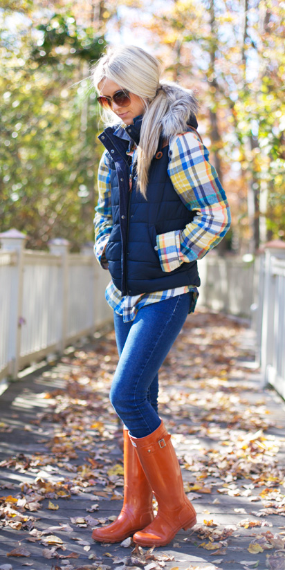 blue-med-skinny-jeans-orange-shoe-boots-rain-wellies-blue-navy-vest-puffer-pony-yellow-plaid-shirt-fall-winter-blonde-weekend.jpg