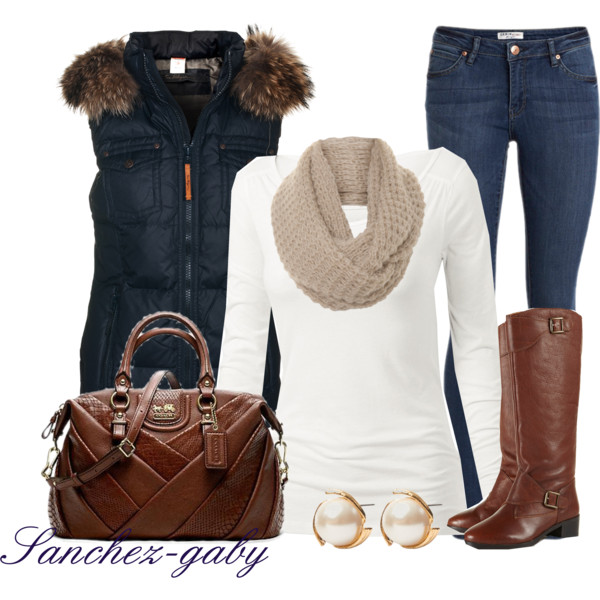blue-navy-skinny-jeans-blue-navy-vest-puffer-tan-scarf-brown-bag-brown-shoe-boots-studs-pearl-fall-winter-weekend.jpg