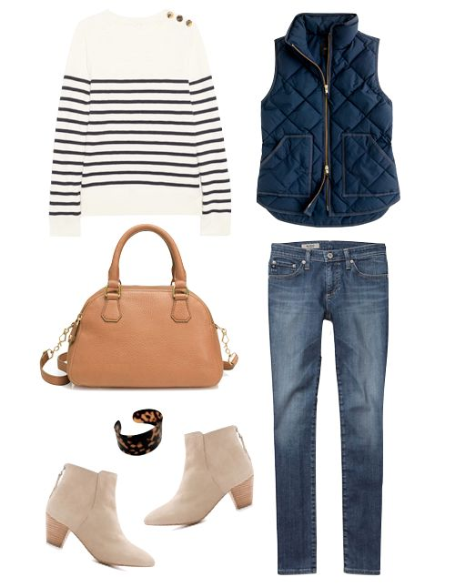 blue-med-skinny-jeans-blue-navy-sweater-stripe-blue-navy-vest-puffer-cognac-bag-bracelet-tan-shoe-booties-howtowear-fashion-style-outfit-fall-winter-weekend.jpg