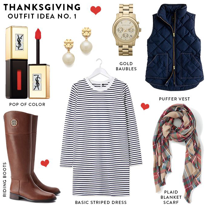 blue-navy-dress-zprint-stripe-blue-navy-vest-puffer-tan-scarf-plaid-cognac-shoe-boots-pearl-earrings-watch-thanksgiving-holidays-tshirt-style-outfit-fall-winter-weekend.jpg
