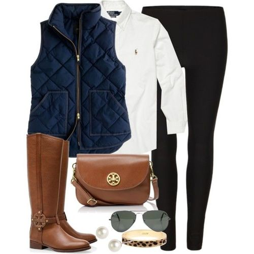 black-leggings-white-collared-shirt-blue-navy-vest-puffer-cognac-shoe-boots-cognac-bag-sun-pearl-studs-bracelet-fall-winter-weekend.jpg