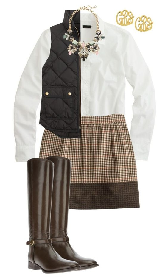 tan-mini-skirt-plaid-black-vest-puffer-bib-necklace-white-collared-shirt-brown-shoe-boots-fall-winter-weekend.jpg