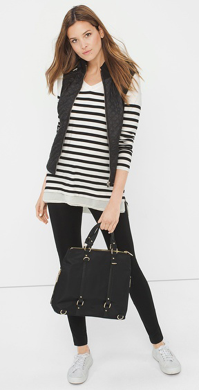 black-leggings-black-sweater-stripe-black-vest-puffer-black-bag-wear-outfit-fashion-fall-winter-white-shoe-sneakers-lunch.jpg