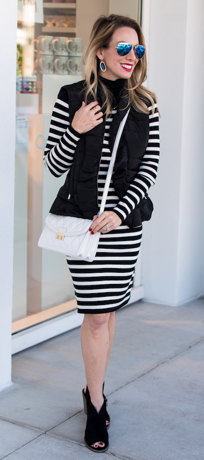 black-dress-sweater-stripe-white-bag-sun-earrings-black-vest-puffer-black-shoe-sandalh-fall-winter-blonde-lunch.jpg