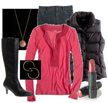 black-skinny-jeans-r-pink-magenta-tee-black-vest-puffer-black-shoe-boots-necklace-pend-hoops-howtowear-fashion-style-outfit-fall-winter-lunch.jpg