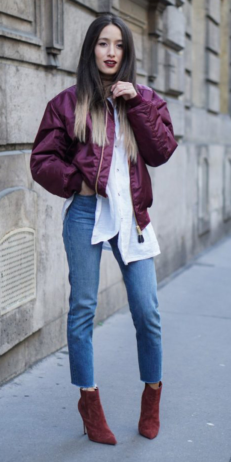 blue-med-skinny-jeans-white-collared-shirt-burgundy-jacket-bomber-hairr-burgundy-shoe-booties-fall-winter-work.jpg