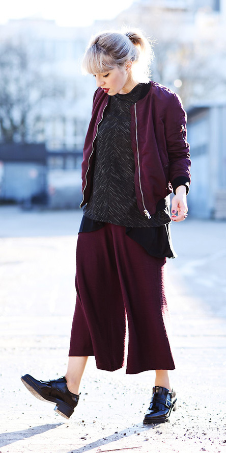 burgundy-culottes-pants-grayd-sweater-burgundy-jacket-bomber-pony-black-shoe-brogues-fall-winter-blonde-lunch.jpg
