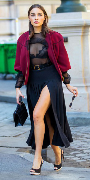 black-midi-skirt-belt-burgundy-jacket-bomber-hairr-black-bralette-black-top-sheer-black-shoe-pumps-black-bag-oliviaculpo-fall-winter-dinner.jpg