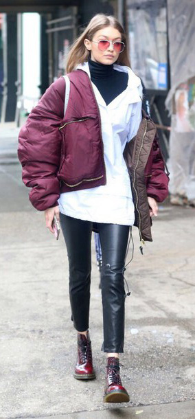 black-skinny-jeans-leathers-black-sweater-turtleneck-burgundy-jacket-bomber-puffer-sun-burgundy-shoe-booties-gigihadid-fall-winter-blonde-weekend.jpg